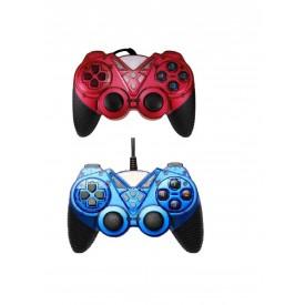دسته بازی دوبل شوک دار PC/MAC 9062 آبی-قرمز