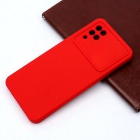 قاب سیلیکونی محافظ لنز کشویی Samsung A12 قرمز